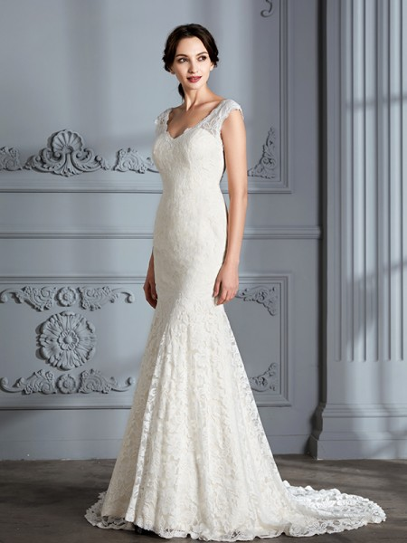 Mermaid V-Neck Lace Sweep/Brush Train Wedding Dresses