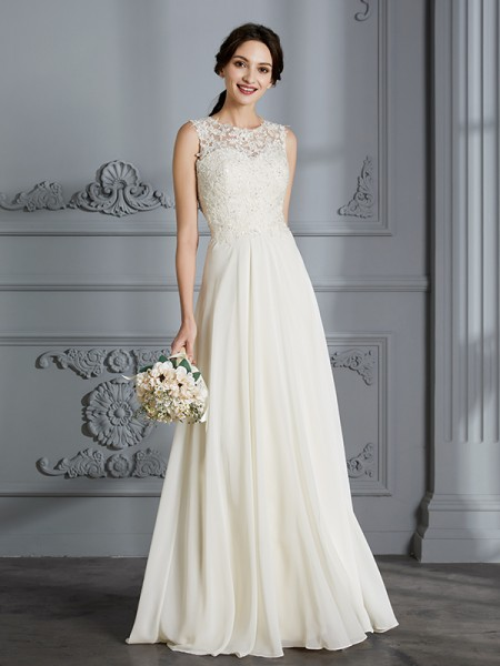 A-Line Scoop Chiffon Floor-Length Wedding Dresses