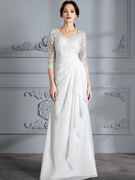 Sheath V-neck Chiffon Floor-Length Wedding Dresses