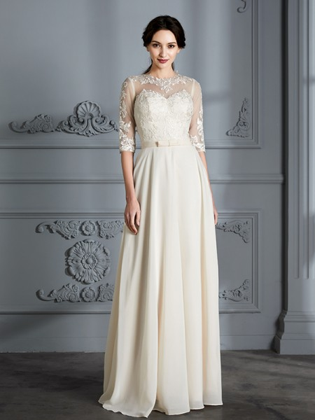 A-Line Scoop Floor-Length Chiffon Wedding Dresses