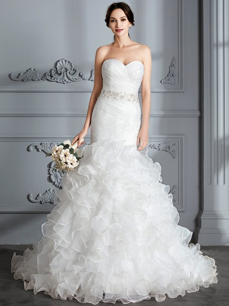 Mermaid Sweetheart Ruffle Sweep/Brush Train Satin Wedding Dresses