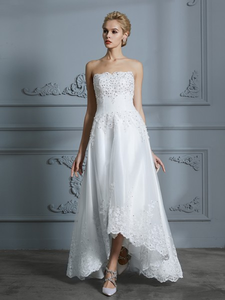A-Line Sweetheart Beading Asymmetrical Tulle Ball Gown Wedding Dresses