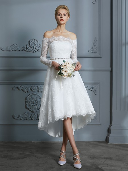 A-Line Off-the-Shoulder Asymmetrical Lace Ball Gown Wedding Dresses