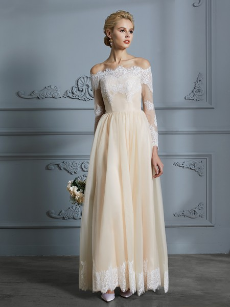 A-Line Off-the-Shoulder Floor-Length Lace Tulle Ball Gown Wedding Dresses