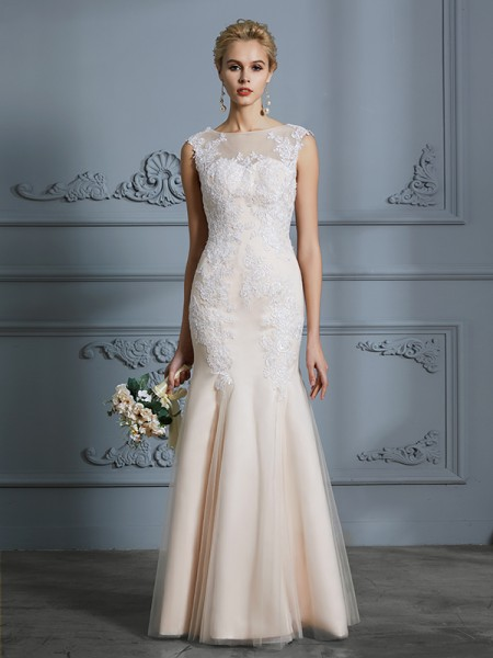 Mermaid Scoop Tulle Applique Floor-Length Wedding Dresses