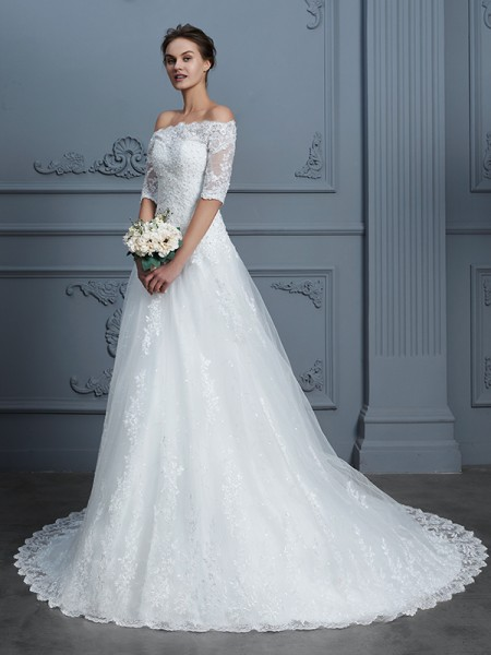 Ball Gown Off-the-Shoulder Beading Court Train Wedding Dresses