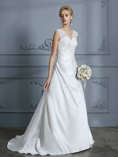 A-Line V-neck Sweep/Brush Train Applique Satin Wedding Dresses