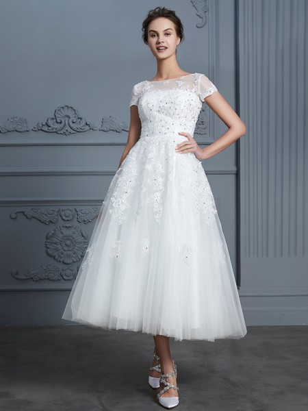 A-Line Scoop Tea-Length Beading Tulle Wedding Dresses