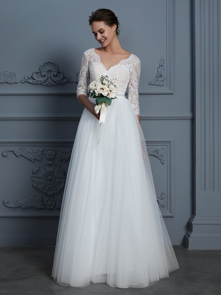 A-Line V-neck Floor-Length Lace Tulle Wedding Dresses