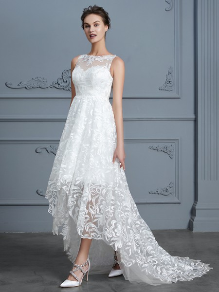 A-Line Scoop Asymmetrical Lace Wedding Dresses