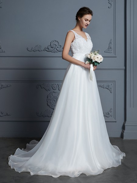 A-Line V-neck Floor-Length Lace Chiffon Wedding Dresses