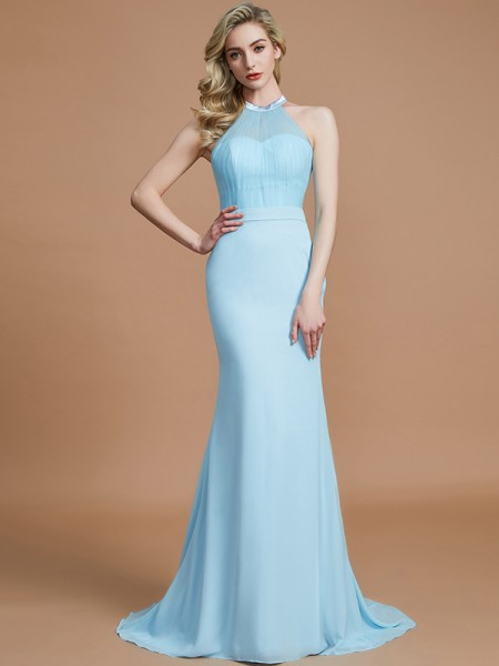 Mermaid Scoop Sweep/Brush Train Chiffon Bridesmaid Dresses