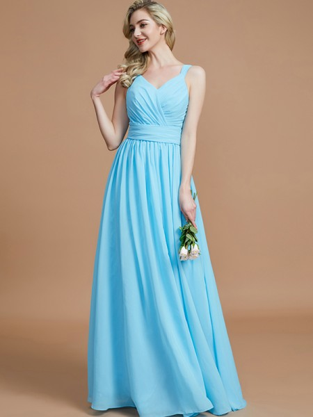 A-Line V-neck Chiffon Floor-Length Bridesmaid Dresses