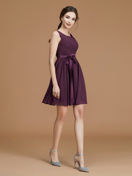 A-Line Bateau Short/Mini Sash/Ribbon/Belt Chiffon Bridesmaid Dresses