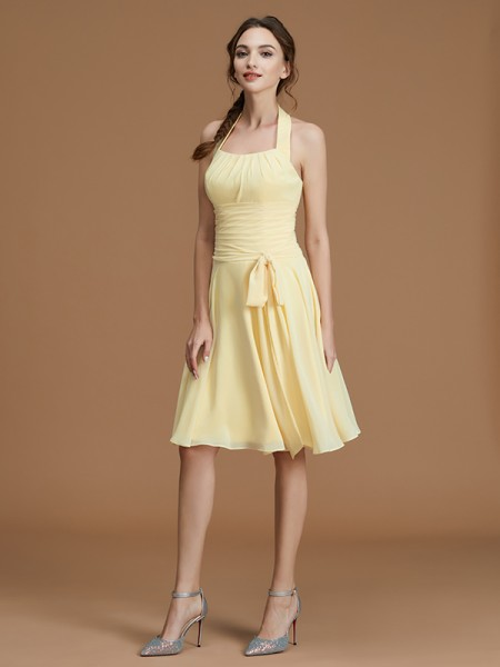 A-Line Halter Short/Mini Ruffles Chiffon Bridesmaid Dresses