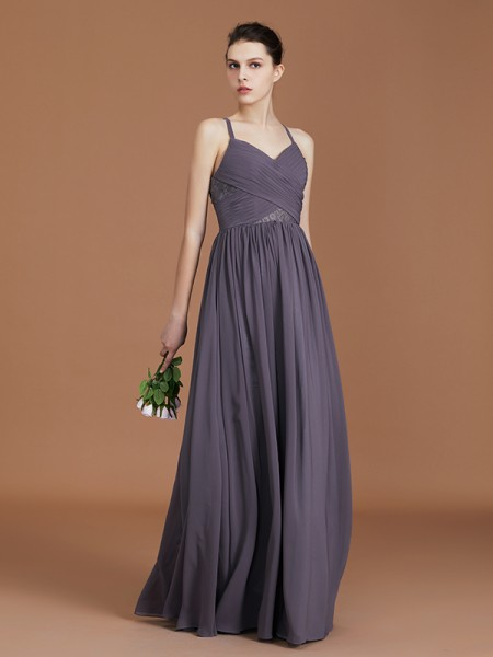 A-Line Lace Spaghetti Straps Floor-Length Chiffon Bridesmaid Dress