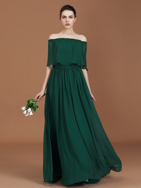 A-Line Pleats Off-the-Shoulder Floor-Length Chiffon Bridesmaid Dress