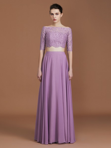 A-Line/Princess Lace Off-the-Shoulder 1/2 Sleeves Floor-Length Chiffon Bridesmaid Dress