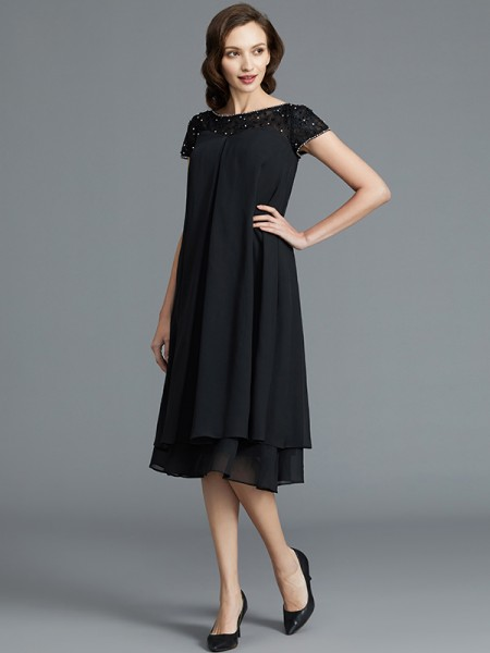 A-Line Scoop Knee-Length Chiffon Mother of the Bride Dresses