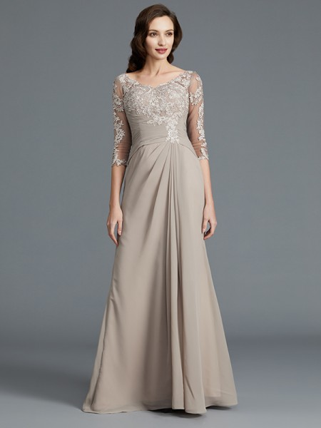 A-Line Scoop Applique Chiffon Floor-Length Mother of the Bride Dresses