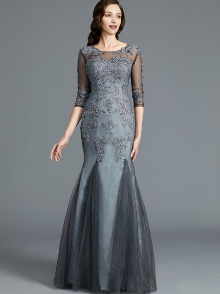 Sheath Scoop Applique Tulle Floor-Length Mother of the Bride Dresses