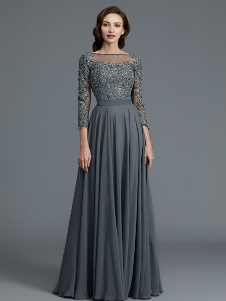 A-Line Bateau Floor-Length Chiffon Mother of the Bride Dresses