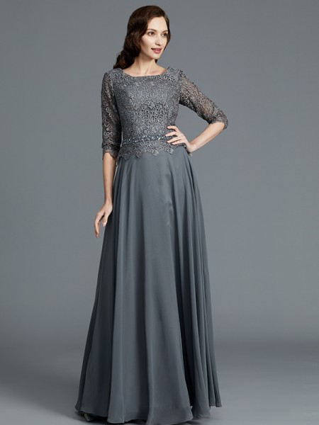 A-Line Scoop Chiffon Floor-Length Mother of the Bride Dresses