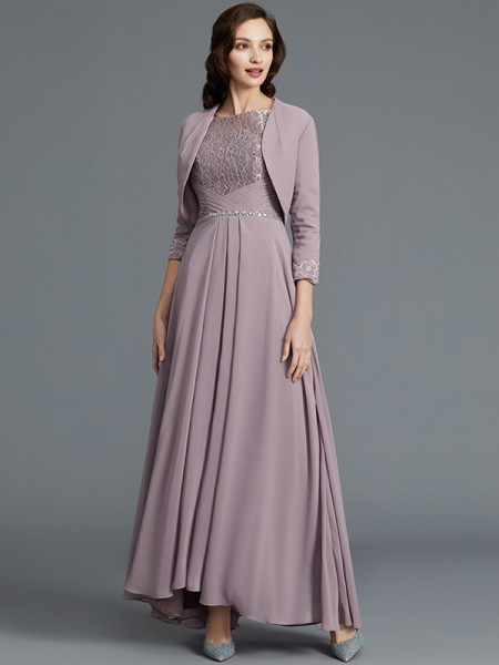 A-Line Scoop Asymmetrical Chiffon Mother of the Bride Dresses