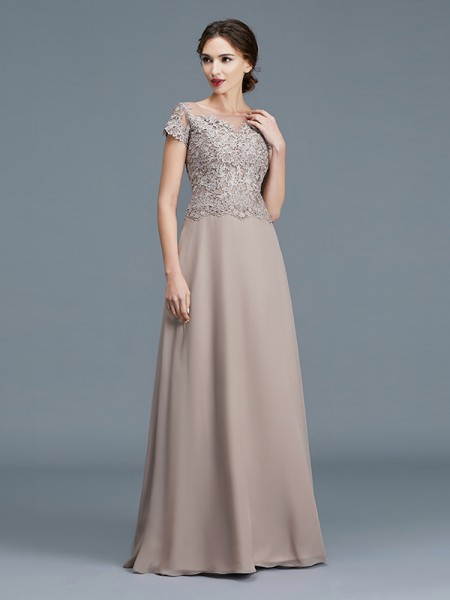 A-Line Scoop Applique Floor-Length Chiffon Mother of the Bride Dresses