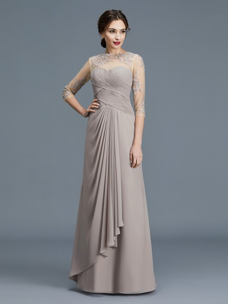 A-Line Sheer Neck Ruffles Chiffon Floor-Length Mother of the Bride Dresses