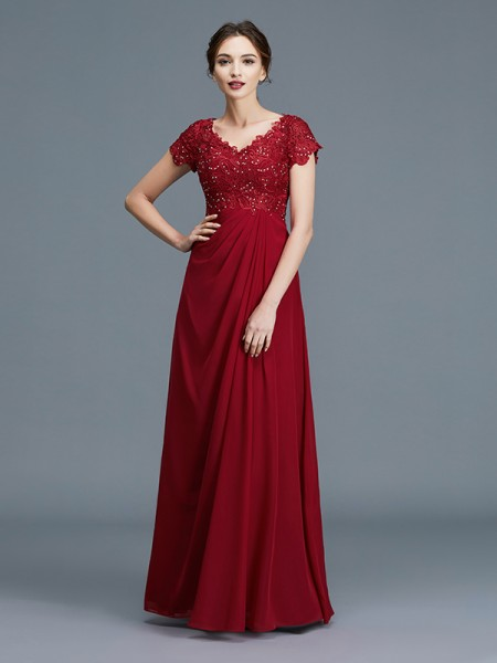 A-Line V-neck Ruffles Chiffon Floor-Length Mother of the Bride Dresses