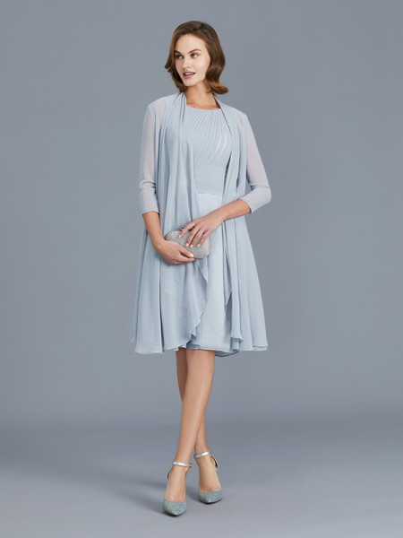 A-Line Scoop Ruffles Chiffon Knee-Length Mother of the Bride Dresses
