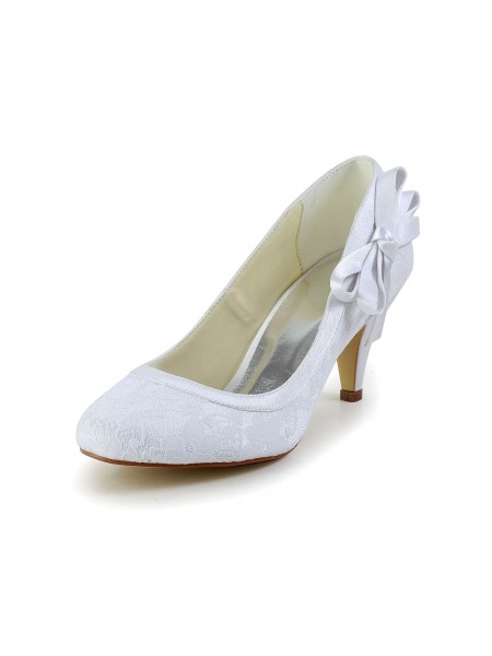 Latest Women's Amazing Satin Closed Toe Cone Heel White Wedding Shoes With Bowknot