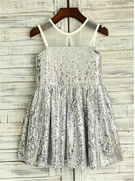 A-Line Scoop Tea-Length Sequins Flower Girl Dresses