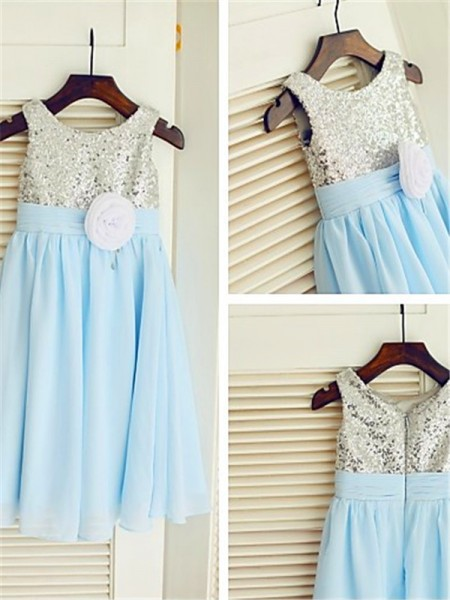 A-Line Scoop Sequin Tea-Length Chiffon Flower Girl Dresses