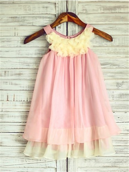 A-Line Straps Ruched Tea-Length Chiffon Flower Girl Dresses