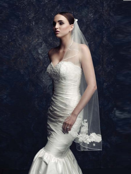 Fashion Elegant Tulle With Embroidery Wedding Veils