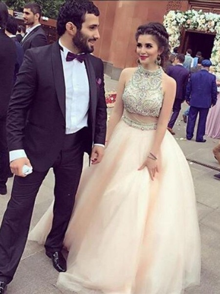 A-Line High Neck Floor-Length Crystal Champagne Prom Dresses