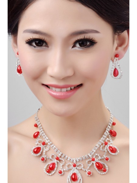 Fashion Glamorous Alloy Crystals Wedding Necklaces Earrings Set