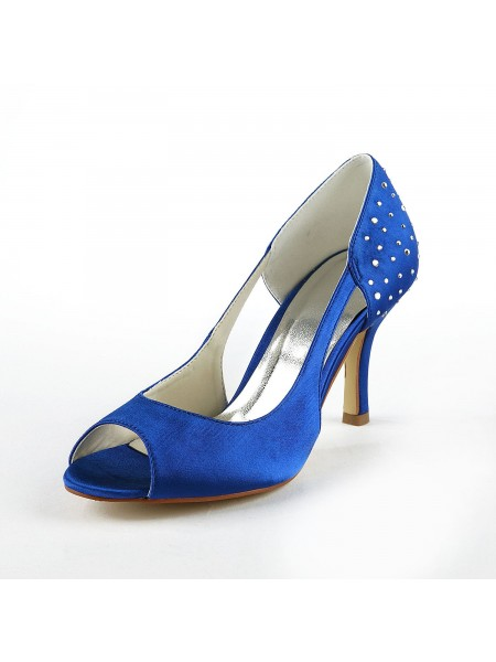 Latest Women's Gorgeous Satin Stiletto Heel Peep Toe With Rhinestone High Heels