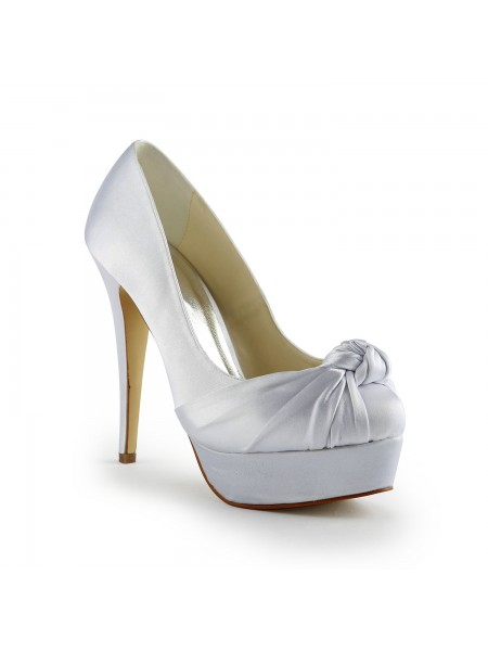 Latest Women's Gorgeous Satin Stiletto Heel Pumps With Ruched White Wedding Shoes
