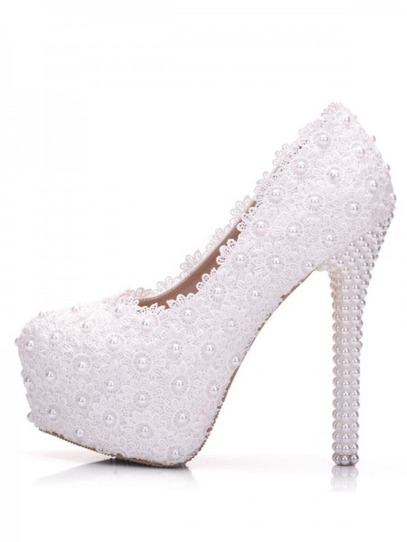 Latest Women's PU With Flower Stiletto Heel Closed Toe Platforms Shoes