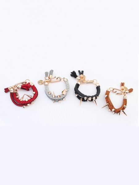 Latest Occident Hyperbolic Personality Rivet Woven Hot Sale Bracelets