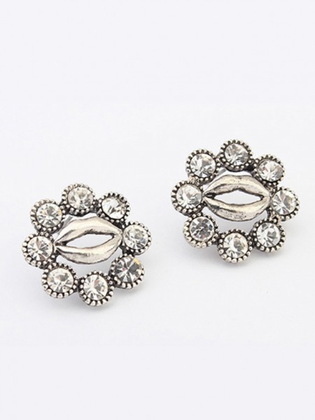 Latest Occident Metallic Personality Hyperbolic Lips Stud Hot Sale Earrings