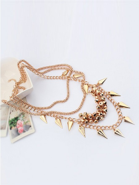 Latest Occident Hyperbolic Stylish Street shooting style Button screw Metallic Multi-layered Hot Sale Necklace