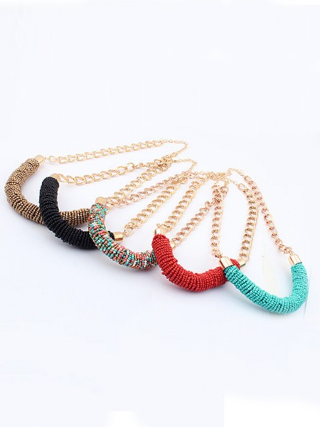 Latest Occident Stylish Multicolor Seed Pearls Handwork Round Tube Hot Sale Necklace