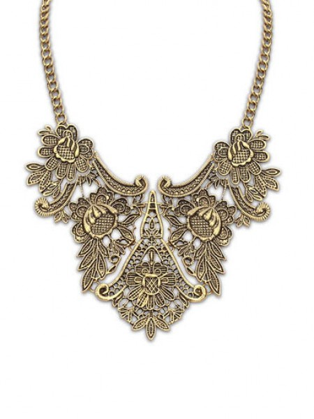 Latest Occident Exotic Metallic flower pattern Hot Sale Necklace