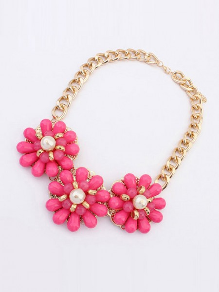 Latest Occident Candy colors Fresh Big Flowers Hot Sale Necklace
