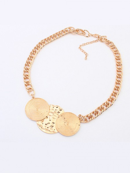Latest Occident Trendy Punk Stylish Round Plate Hot Sale Necklace