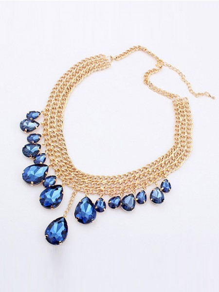 Latest Occident Hyperbolic Stylish Metallic Mashup style New Water Drop Hot Sale Necklace